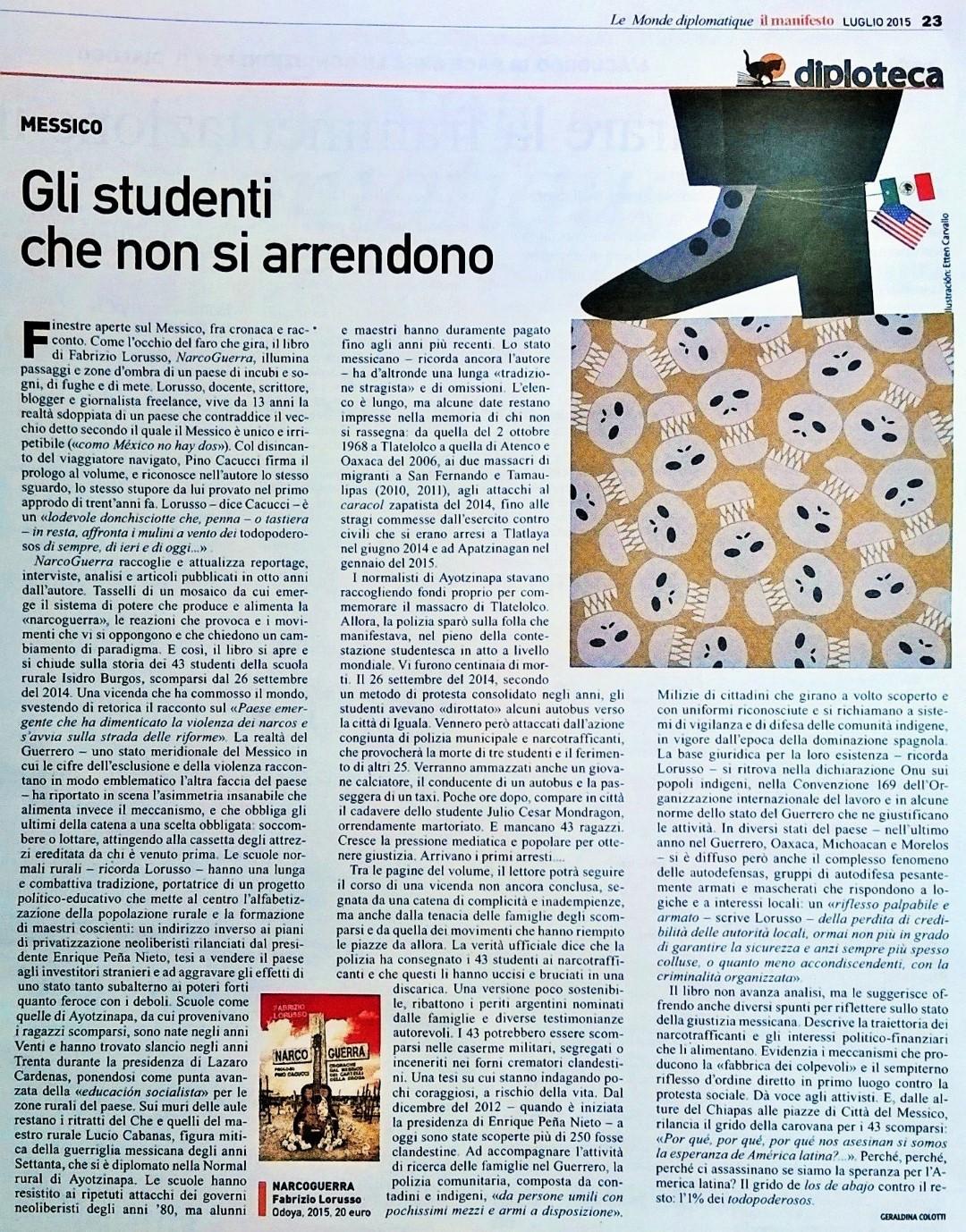 Recensione NarcoGuerra Il Manifesto Le monde diplomatique Geraldina Colotti (Large)